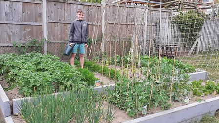 Claire and her son Lenny Grove's garden Picture: CLAIRE DRIVER