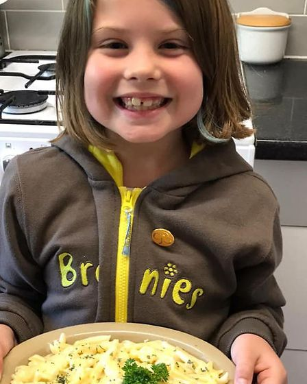 Teatime on the Melton Brownies virtual pack holiday. Picture: GIRLGUIDING SUFFOLK