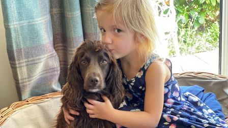 Melissa Murfet and Darren Neal's daughter Beau, three, with the cocker spaniel Annie who was among t