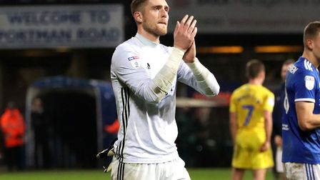 Tomas Holy applauds the Ipswich fans after Town's 0-0 draw with Wycombe at Portman Road Photo: ROSS