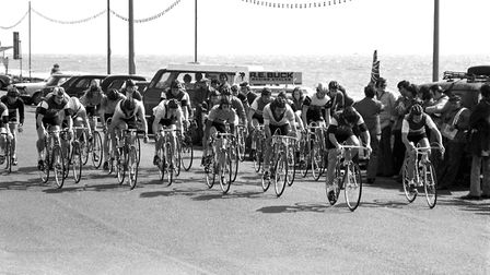 A cycle race along Felixstowe sea front in April 1976 Picture: ARCHANT