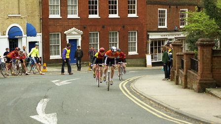 Riders come up the hill in Woodbridge Cycle Race in 1993 Picture: ARCHANT