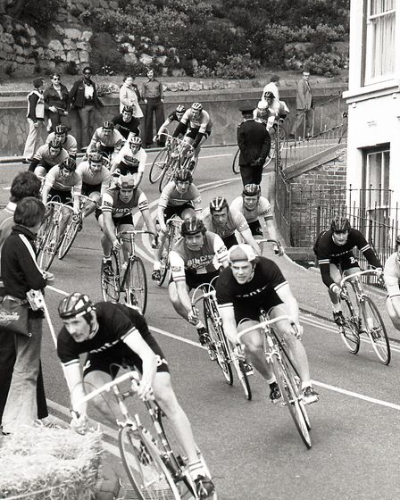 The riders navigating their way down the hill in Felixstowe in 1976 Picture: JOHN KERR