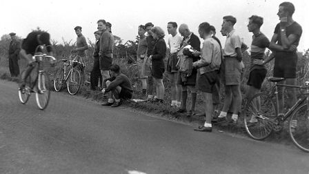 A cycle race on the A140 in 1950. Picture: ARCHANT