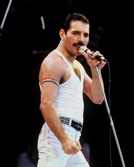 Freddie Mercury, lead singer with Queen, during the Live Aid concert Picture: PA