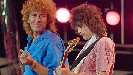 Led Zeppelin's Robert Plant, left, and Jimmy Page, reunited at Live Aid in Philadelphia Picture: AP