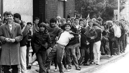 People queued all night in Ipswich to buy their Live Aid ticket when the Gaumont Theatre opened Pict