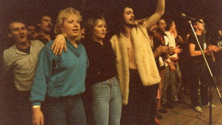 All the bands on stage at the end of North Walsham Live Aid in January 1986 Picture: NWLA