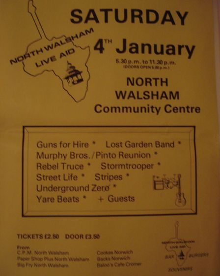 A poster for North Walsham Live Aid in January 1986 Picture: NWLA