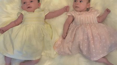 Twin girls Nellie Rosalyn Baxendale and Esmae Florence Baxendale. Picture: KAYLEIGH ALDEN-HOLLINSWO