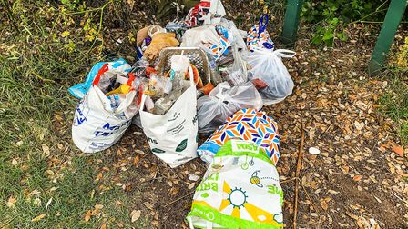 Bags of rubbish left at the entrance of the footpath that leads to the beach at Covehithe. Picture: