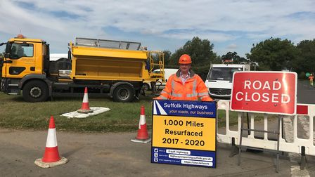 Suffolk Highways are celebrating the completion of 1,000 miles of road resurfacing since 2017. Pictu