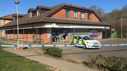 The robbery happened at Tesco Express in Lawson Place, Bury St Edmunds, on March 23 Picture: MICHAEL