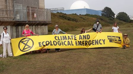 The Extinction Rebellion protest on the beach at Sizewell. Picture; EXTINCTION REBELLION