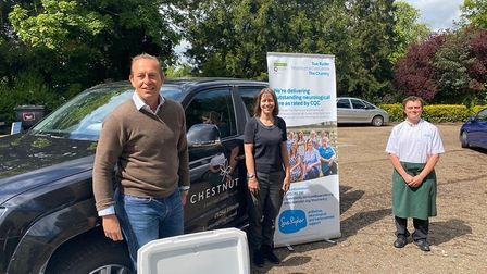 The Chestnut team delivering to a Sue Ryder Hospice. Tthey gave more than 25,000 meals to 35 good ca