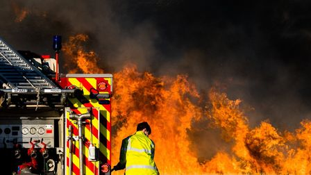 Firefighters were called to the scene in Colchester Road, Ardleigh, yesterday evening. Picture: TWIG