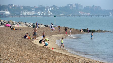 People having been flocking to the beach at Felixstowe during the warm weather, but health officials