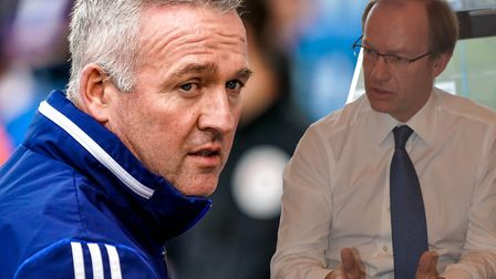Ipswich Town owner Marcus Evans (right) met with manager Paul Lambert (left), as well general manage