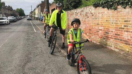 Mark and Ellis Desira with the instructor Iain Watson on a Free cycling session. Picture: SUFFOLK CO