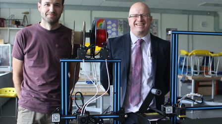 Matt Read with Tom Corker of Felixstowe Academy after donating the 3D printers Picture: GOODERHAM PR