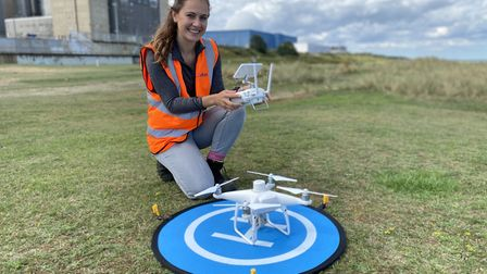 Drone pilot Sara Stones at Sizewell B nuclear power station. Cefas is monitoring coastal erosion in