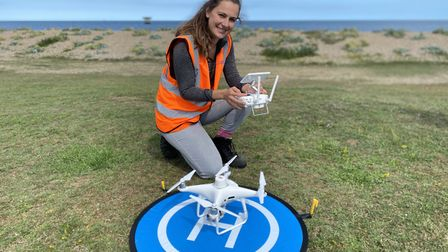 Drone pilot Sara Stones at Sizewell beach. Picture: ANDREW PAPWORTH
