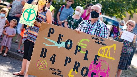 Extinction Rebellion protesters gathered in Thurston to protest against Persimmon Homes after an oak