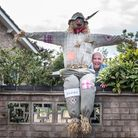 Norman Ruffell with his scarecrow Picture: SARAH LUCY BROWN