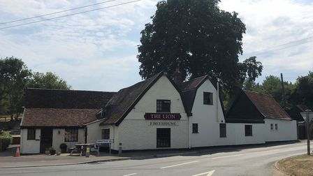 The Lion pub at Needham Market - there has been a pub on the site since the early 17th century. Pict