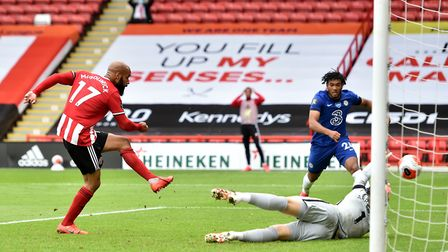 Sheffield United's David McGoldrick scores his first goal of the game during the Premier League matc