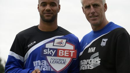 David McGoldrick is presented with the Championship player of the month award by Mick McCarthy in Se