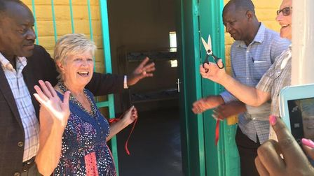 Linda and Roger Bullen opening the dormitory at Omuhaturua Primary School and Hostel, April 2018. On