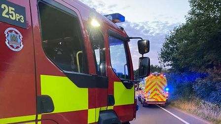 Police officers, ambulance and fire crews were called to the scene on the A134 in Long Melford last