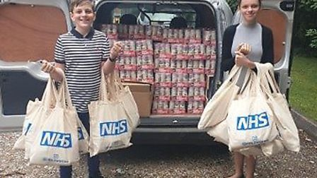 Cameron and Ella Fisher have raised more £1,000 to buy goods for gift bags to give to NHS workers. P