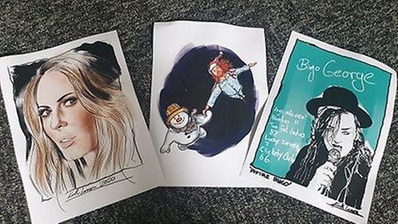 Some of the drawings donated by TV comic Keith Lemon to Ella and Cameron. Picture EMMA FISHER