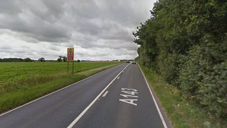 The crash happened on the A143 at Pakenham Picture: GOOGLE MAPS