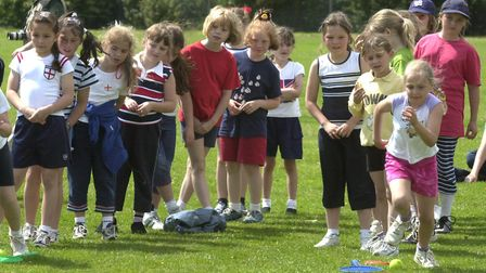 Brownies taking part in It's a Knockout during Colneis Guides jubilee celebrations at Deben High Sc