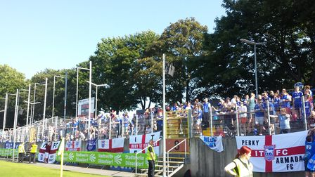 Ipswich fans during their first visit to play Fortuna in 2015 Picture: GERALD OLLEY