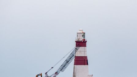 Preparatory work has begun to bring down the Orfordness Lighthouse Picture: CARL HUMPHREY