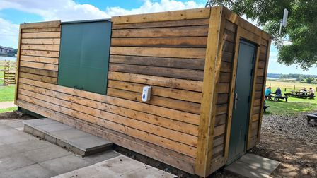 The converted shipping container which has been cladded with wood and replaces Suffolk Food Hall's b