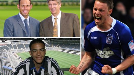 Clockwise from top left, Richard Wright, Connor Wickham and Kieron Dyer are all former Ipswich Town