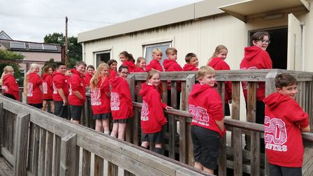The Redwood Class from St Gregory CEVC Primary School in Sudbury in their �leavers hoodies�. Picture