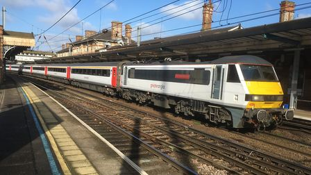 The carriages were part of Greater Anglia's Intercity stock, Stock Image