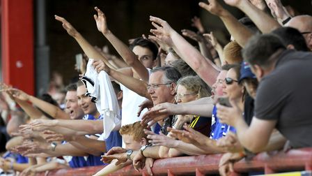 Ipswich Town fans pictured in the away end at Brentford. Photo: Pagepix