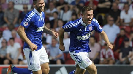 Ryan Fraser celebrates his goal at Brentford at the start of 2015/16. Photo: Pagepix