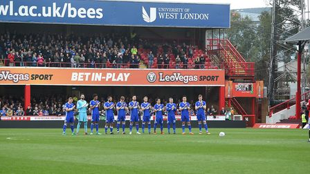 Griffin Park remembers Ray Wilkins before the start of the clash between Brentford and Ipswich in 20