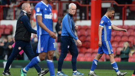 Mick McCarthy leaves the pitch to abuse at Brentford in 2018 - he quit days later. Photo: Pagepix