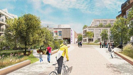 A CGI image produced for the Lowestoft Masterplan for what the Heart of Lowestoft area could look li