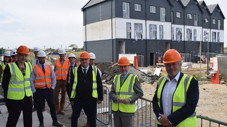 Housing minister Chris Pincher visited Jaywick Sands to see new homes being built in the area. Pictu