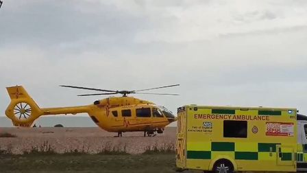 The East Anglian Air Ambulance was seen landing on Aldeburgh beach this morning, Picture: MATT PHILL